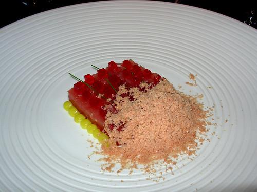 Tuna, olive oil, foie gras snow