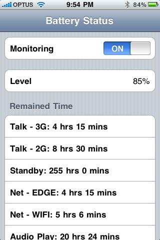 Battery status app