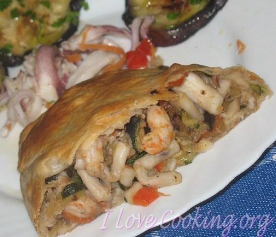 strudel di pesce e verdure