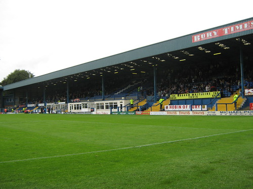 The Main Stand. The Bury Times Family Stand is to the right