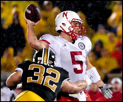 Missouri sophomore linebacker Will Ebner tries to break Nebraska junior quarterback Zac Lees pass during the fourth quarter.