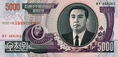 North Korean 5000 won note front
