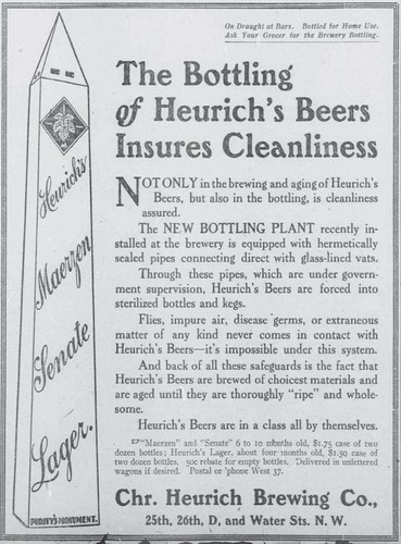 Heurich's Beers Insures Cleanliness