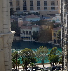 View of the Bellagio lake from our room at the Paris in Las Vegas