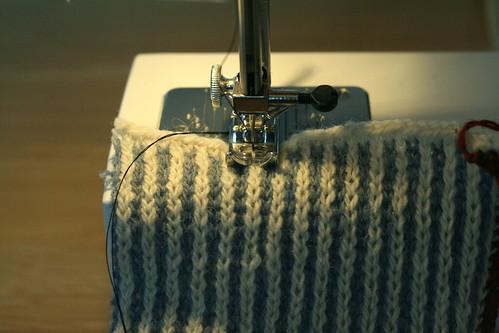 Machine sewn steek reinforcement