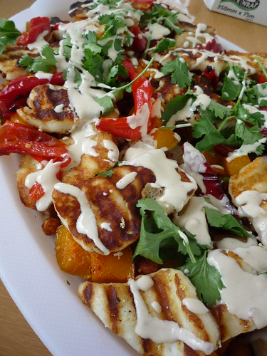 Roasted Butternut Squash with toasted chick peas , chilli grilled haloumi with coriander and tahnini dressing by you.