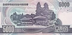 North Korean 5000 won note back