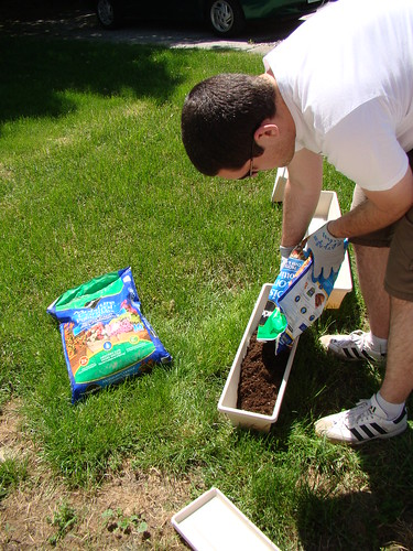 Filling the planters