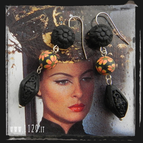 LAFILA Orecchini neri lacca fimo - Black cinnabar and polyclay earrings