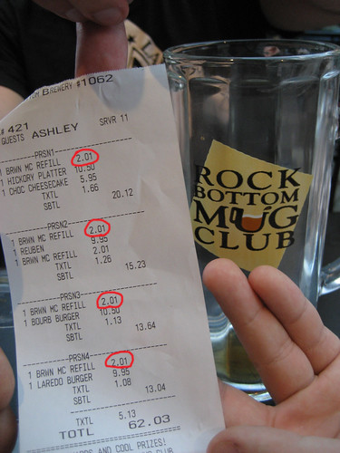 In Indianapolis, 1/2 liter of beer was only $2.01!
