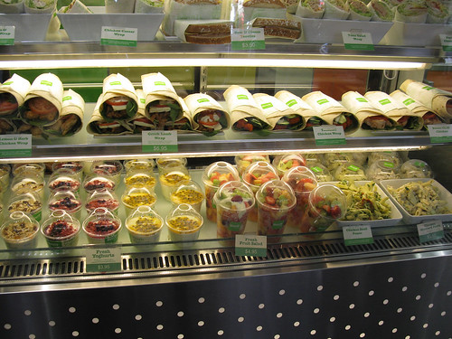 A selection of healthy wraps, yoghurts and salads...yum