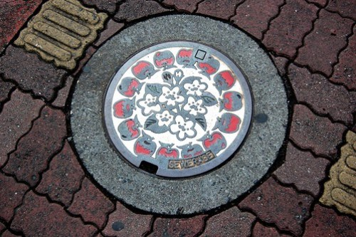Photo of a decorated manhole cover in Nagano