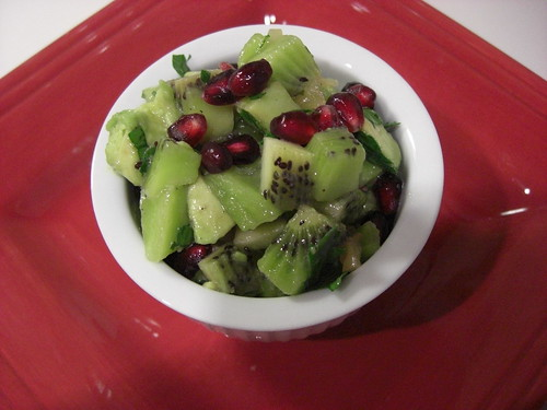 Kiwi salsa with avocado and pomegranate seeds