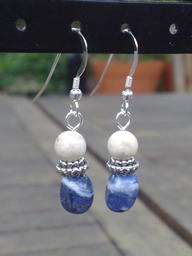 Sodalite and riverstone earrings