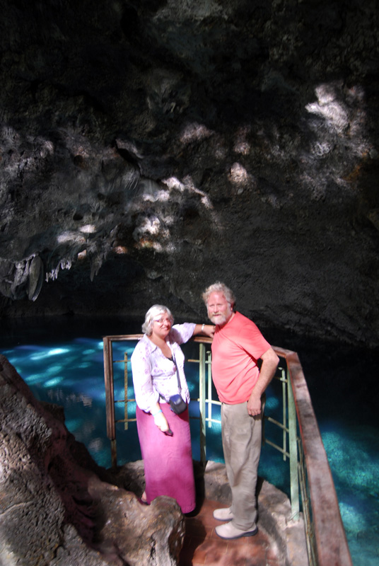 English Couple at first underground lake - Parque Nacional Los Tres Ojos, Dominican Republic