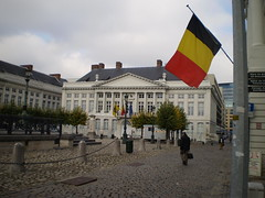 Flag of Belgium flying, Martyrs' Square - Plac...