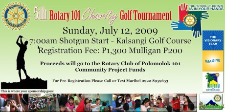 Rotary 101 Charity Golf Tournament Poster