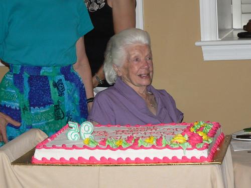 Bethany Beach 2009 - Family Dinner - Grandma Smiles with Cake