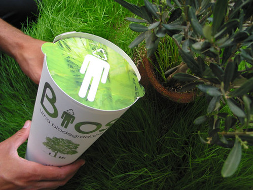 In convenient biodegradable cup.
