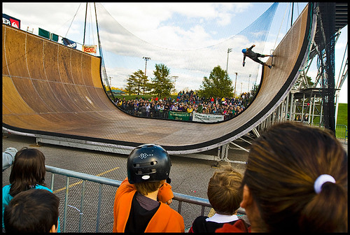Lyn-Z Adams Hawkins warms up on the half-pipe before the demos officially start.