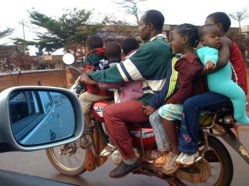 family on road
