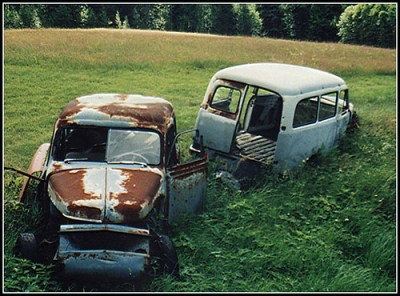 Two old Volvo duett´s at the old junk-yard
