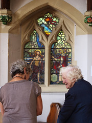 Pippa and Brenda discussing LSLs 1954 window at St Lukes, Reigate