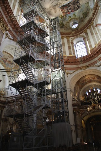 Rather permanent looking lift to the roof of Karlskirche, Vienna