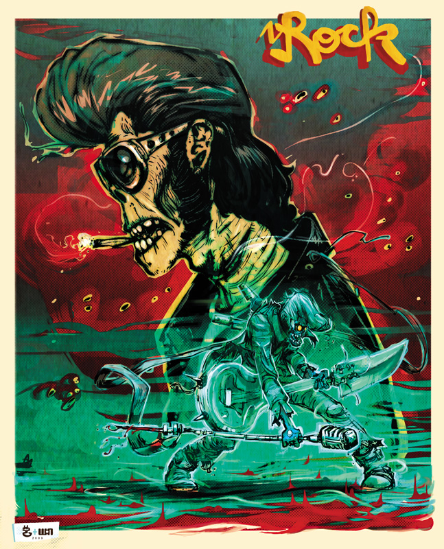 Rockabilly Zombie Superstar avec Moket à la couleur - Hommage à la BD de Nicopek & Lou