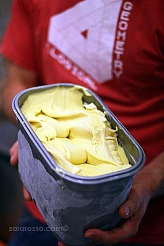 Holding fresh gelato, Il Gelato gelateria, Milan, Italy