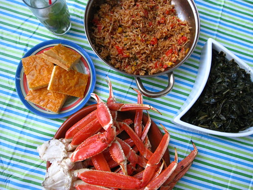 Grilled Crab Legs, Spanish Rice, Collard Greens, Jalapeno-Cheddar Cornbread, & an Apple Mint Mojito