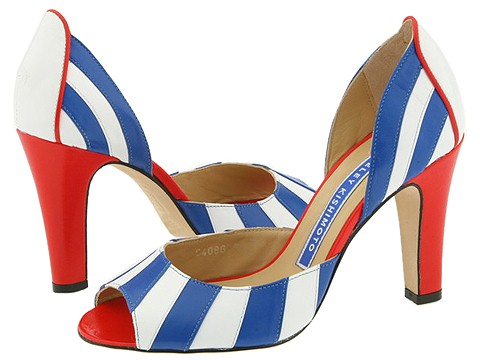 Eley Kishimoto blue and white striped heels