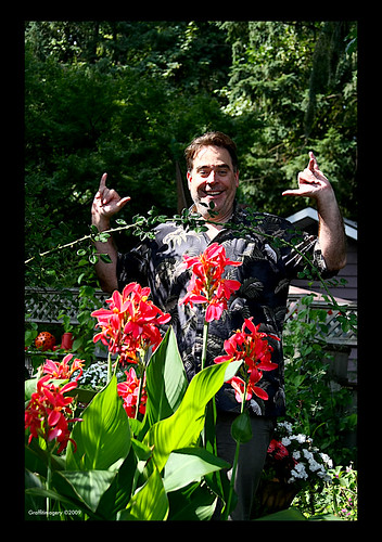 Happy August from my garden!!!...Steve  getting into the spirit by you.