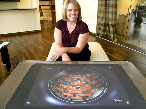 Kelly Carbajal, Marketing and Sales Manager for Four Seasons Private Residences Denver, showing off their Microsoft Surface