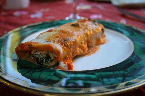 Kale and ricotta canneloni