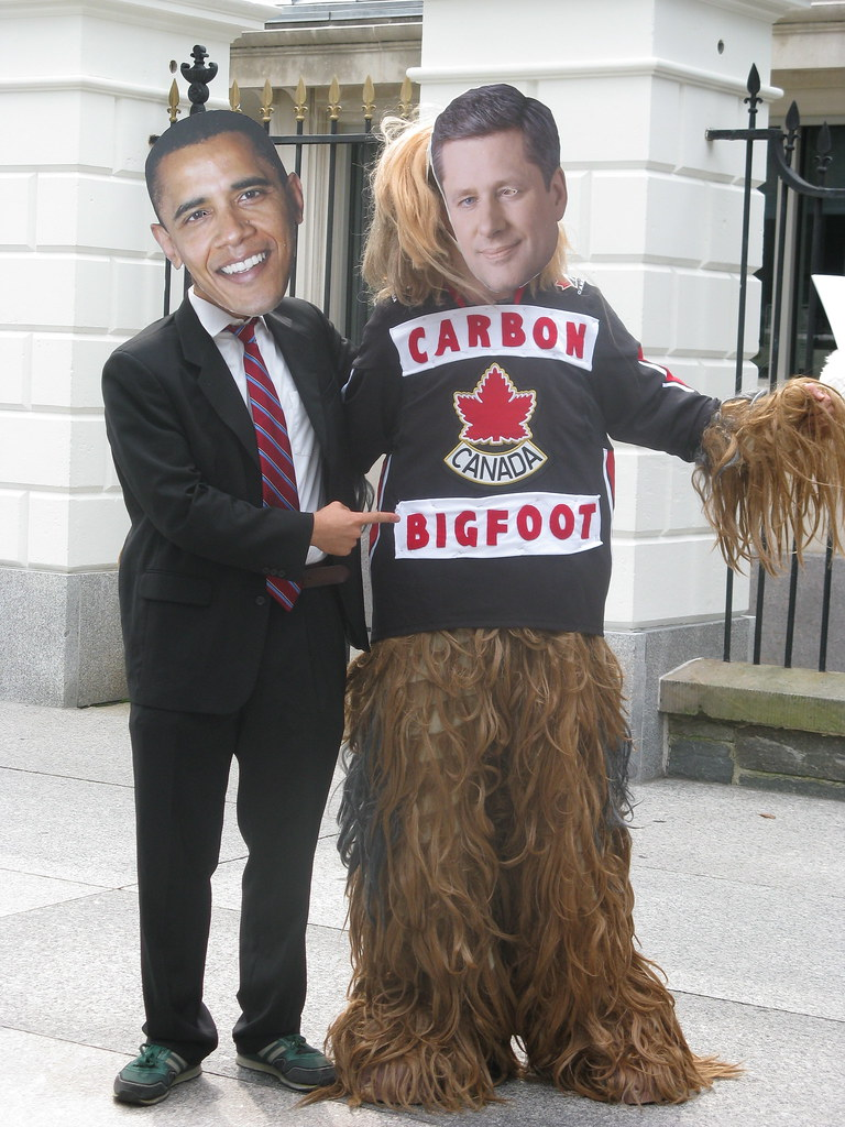 Carbon Bigfoot Harper and Obama Shake Hands