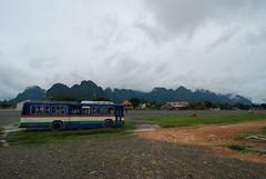 The local bus stop in Vang Viang
