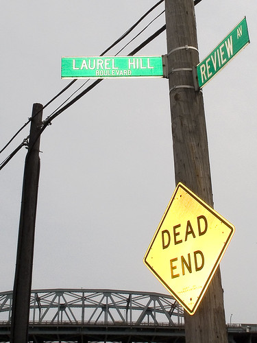 Laurel Hill Blvd. and Review Av. Streetsign by you.