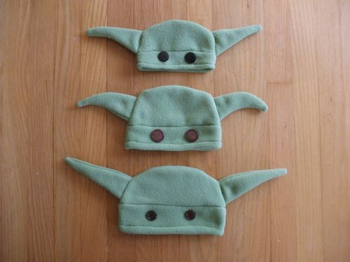 three Yoda hats - baby, little toddler, big toddler