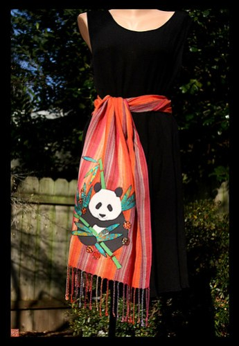 RASTA PANDA one of a kind batik applique scarf by Sandra Miller