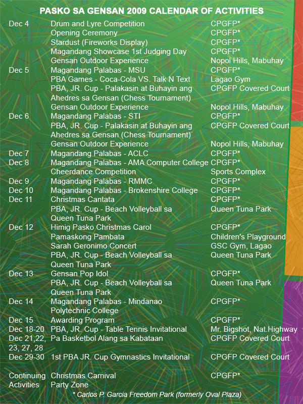 The Schedule of Activities of Pasko Sa Gensan 2009