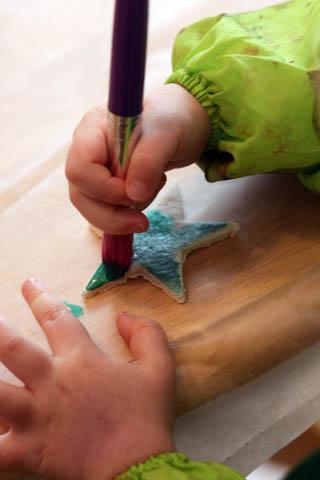 painting Salt Dough Ornaments