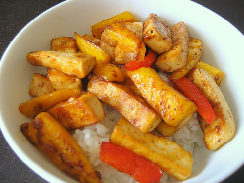 grilled mango and tofu rice bowl