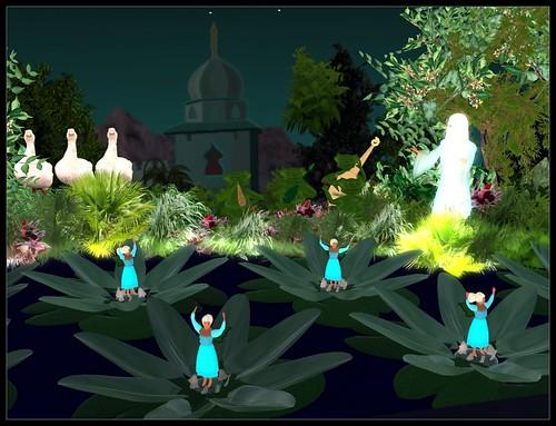 Fairies dancing in waterlilies
