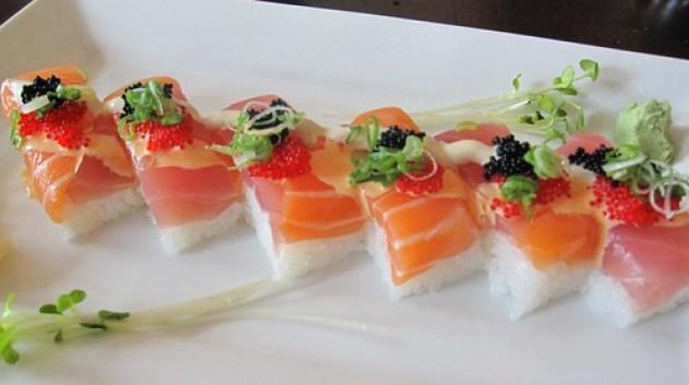 zen on ten - hakozushi (box sushi) with tuna and salmon by you.