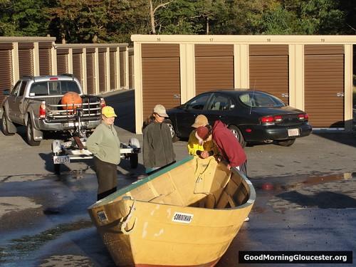 Katherine Richmond Pressure Washes The Race Dories Before Winter Storage