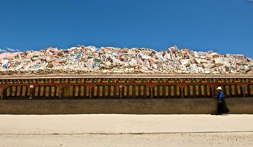 A long line of Tibetan Prayer Wheels in Yushu