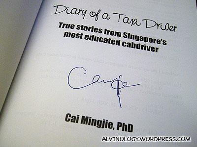 Dr Cai's autograph