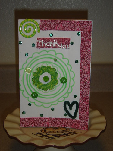 Pink and Green Thank You Card by Kayla Marchand.