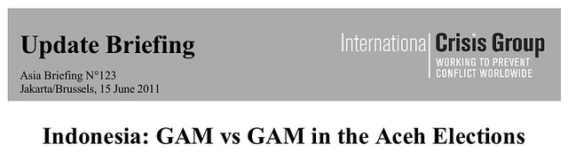 "ICG Report Header:  ""Indonesia: GAM vs GAM in the Aceh Elections"""